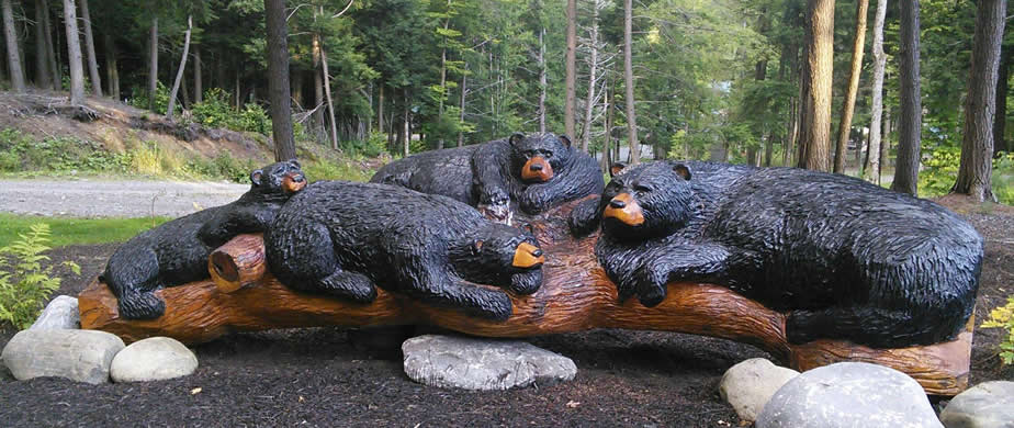 4 Bears on a log
